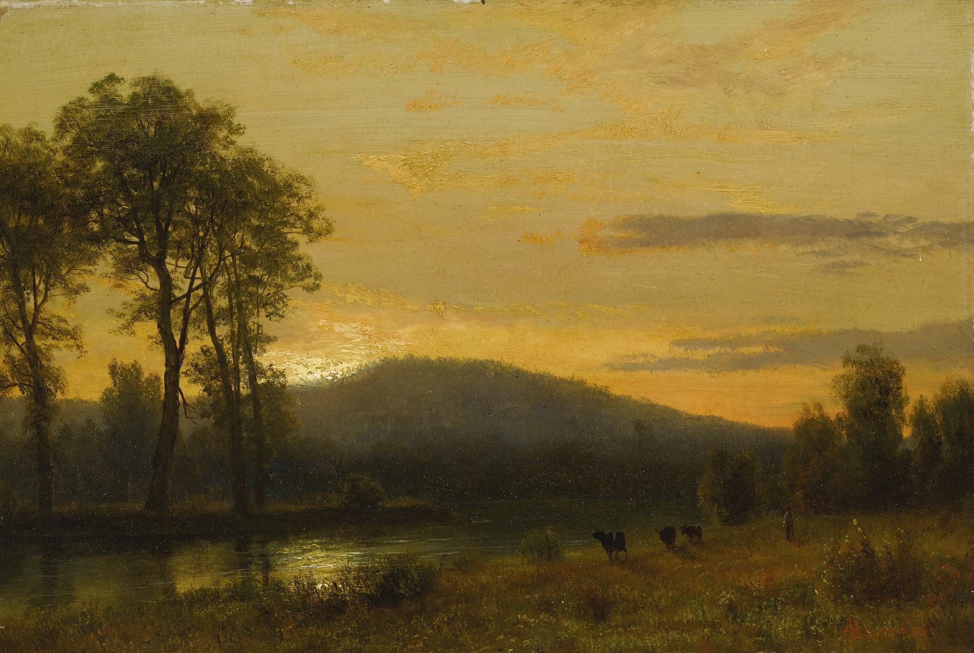Albert Bierstadt - Sunset Near Conway, New Hampshire-