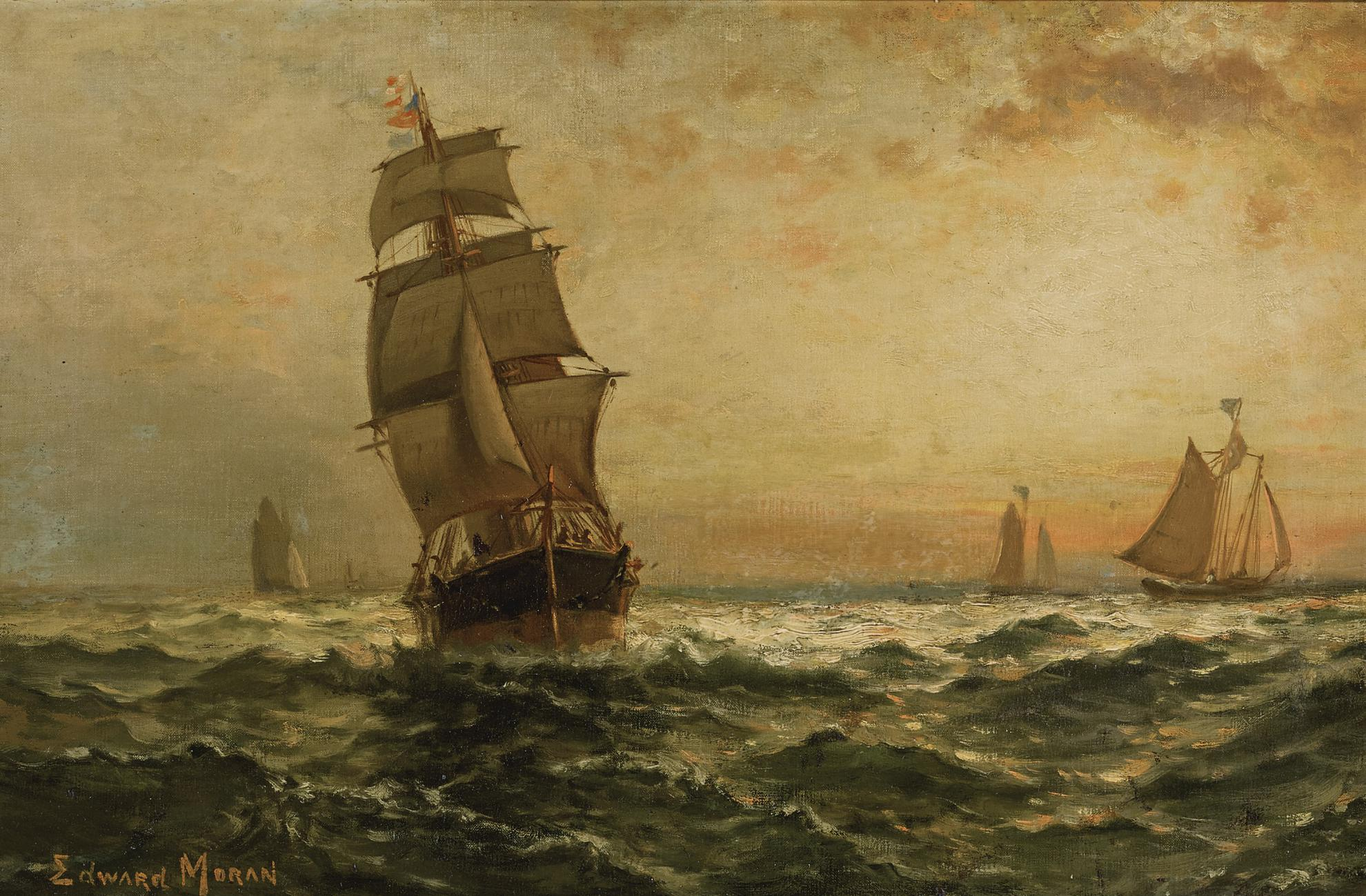 Edward Moran - Sailing At Sunset-