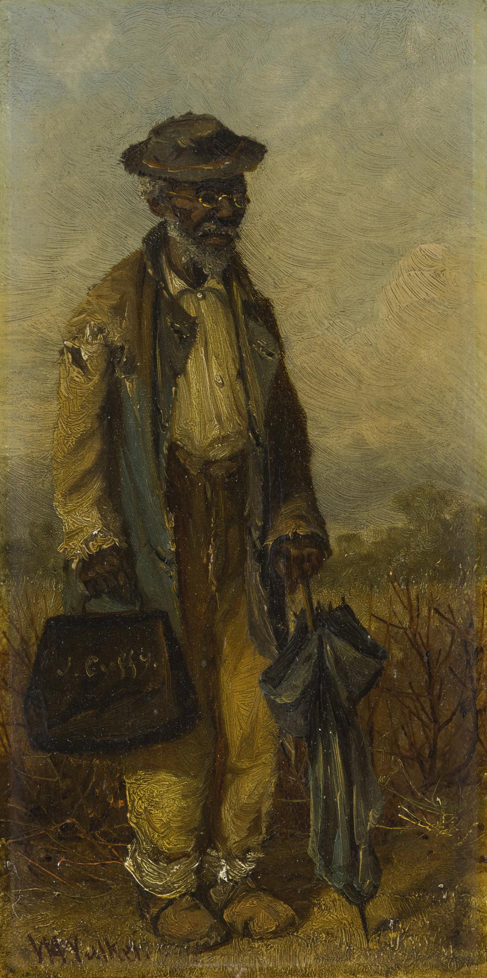 William Aiken Walker-Man With Umbrella And Bag-