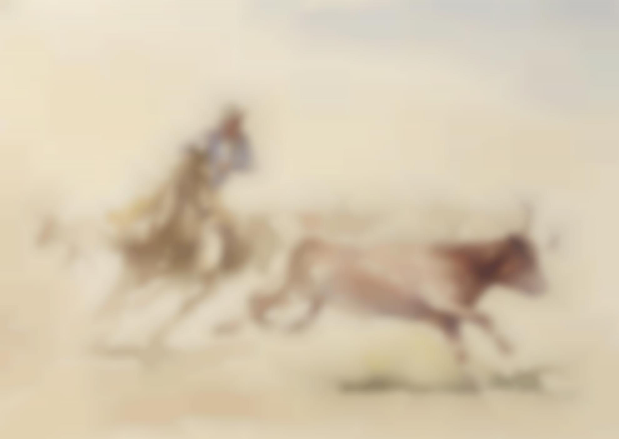 Edward Borein-Chasing A Steer-