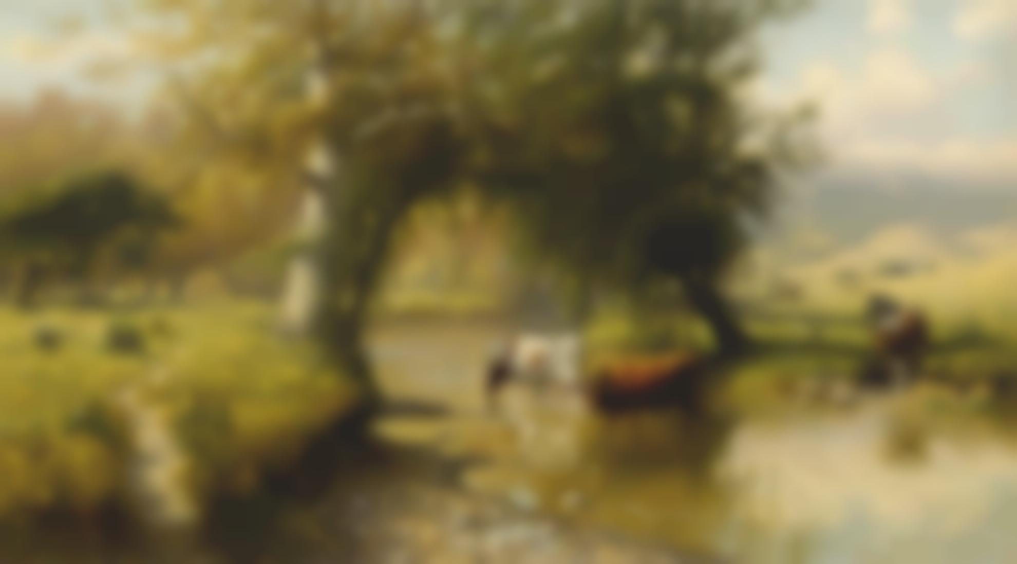 Thaddeus Welch - Cattle Watering Under An Oak Tree-1911