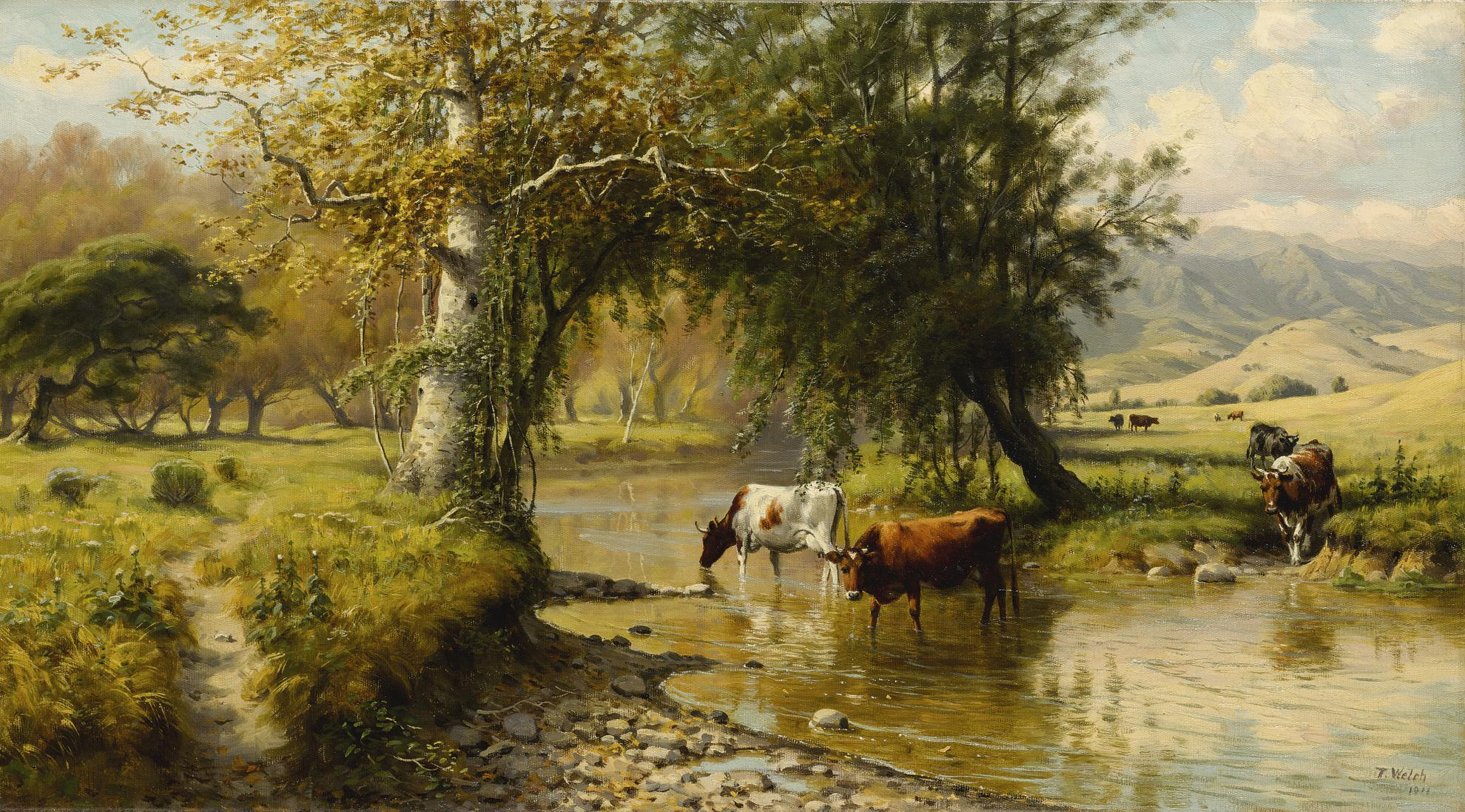 Thaddeus Welch - Cattle Watering Under An Oak Tree-1911