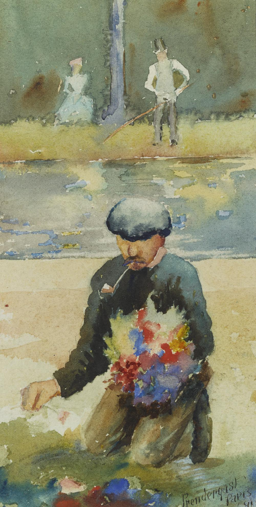Maurice Brazil Prendergast-Unknown Title (Kneeling Man)-1891