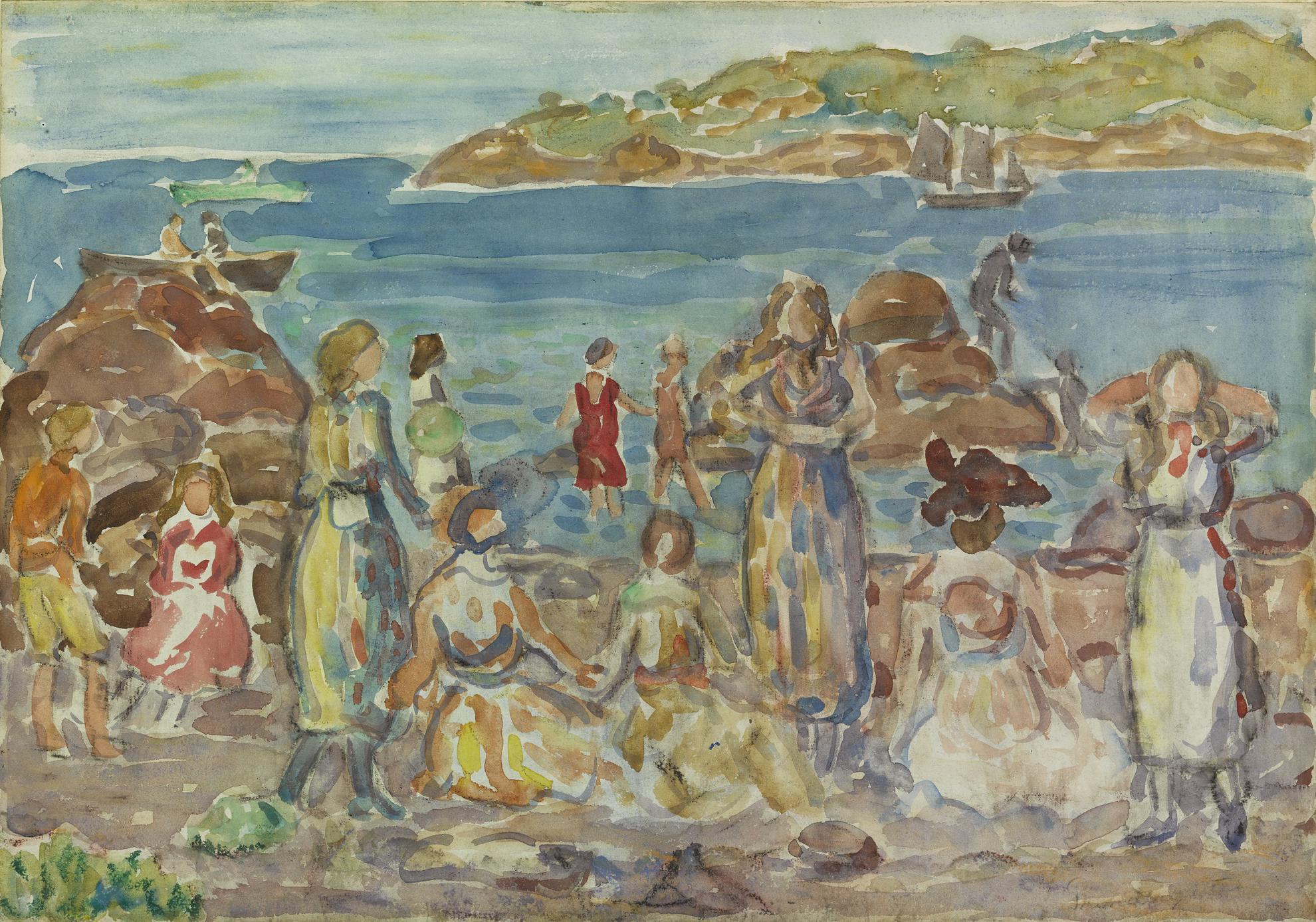 Maurice Brazil Prendergast-Beach Scene, New England-1919