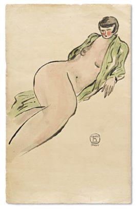 Sanyu-Femme Au Peignoir Vert-1930