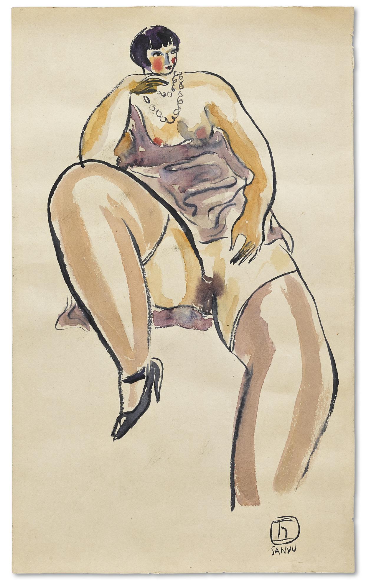 Sanyu-Femme A La Robe Violette Avec Un Collier De Perles-1930
