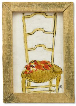 Sanyu-Brown Pekineses On A Chair-1930