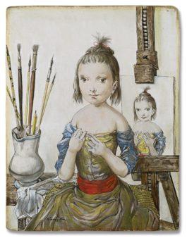 Tsuguharu Foujita-Jeune Fille Dans Latelier De Lartiste-1951