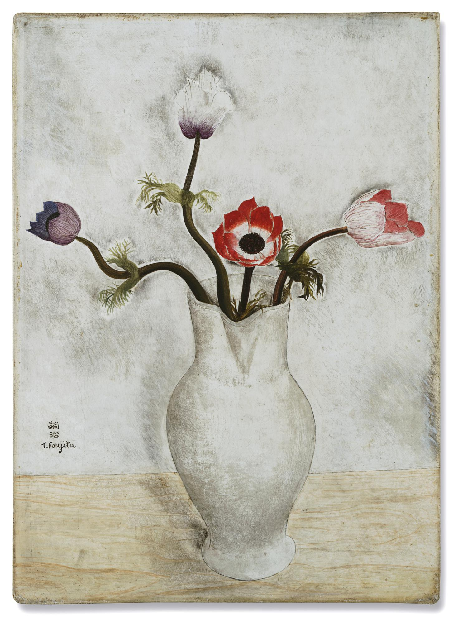 Tsuguharu Foujita-Nature Morte Aux Anemones-1918
