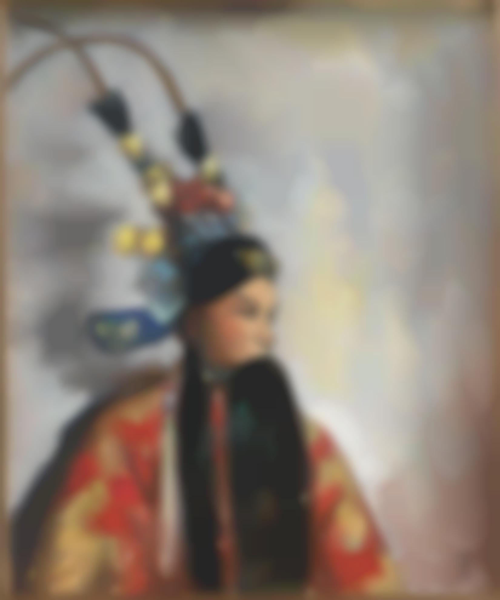 Guan Liang-Guan Liangs Costumed Self-Portrait (Silang Visits His Mother)-1950