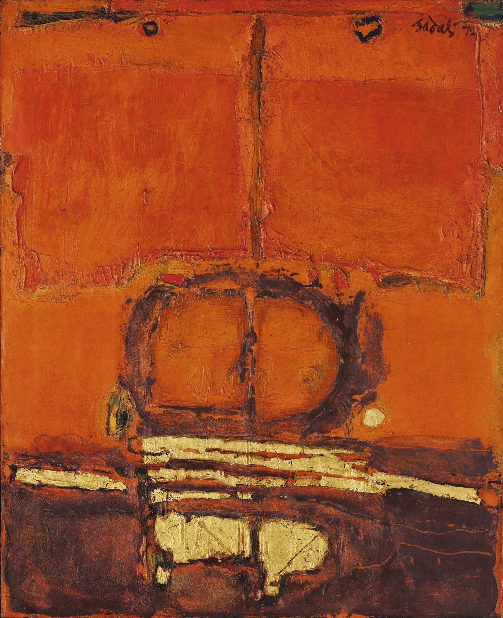 Ahmad Sadali-Untitled (Orange With Gold)-1972