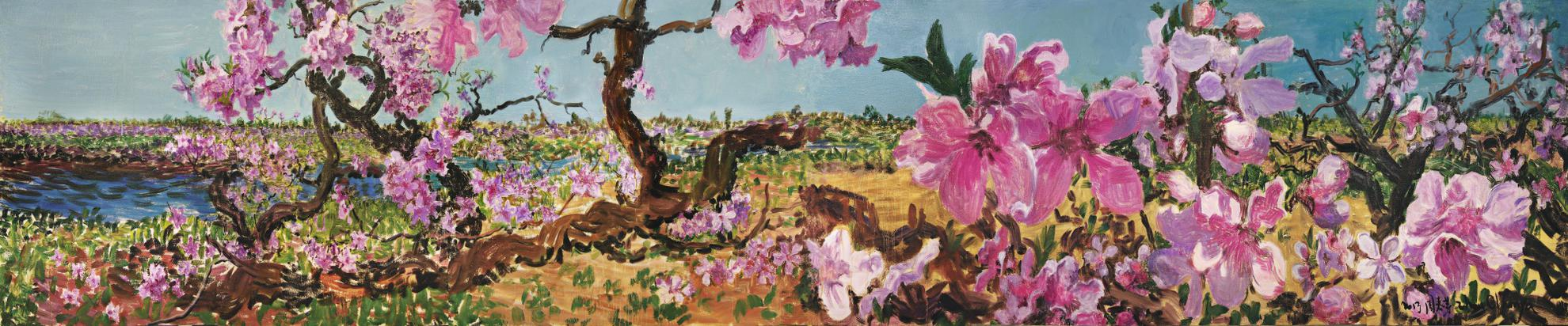 Zhou Chunya-Peach Blossom In The Spring Once Again (Diptych)-2013