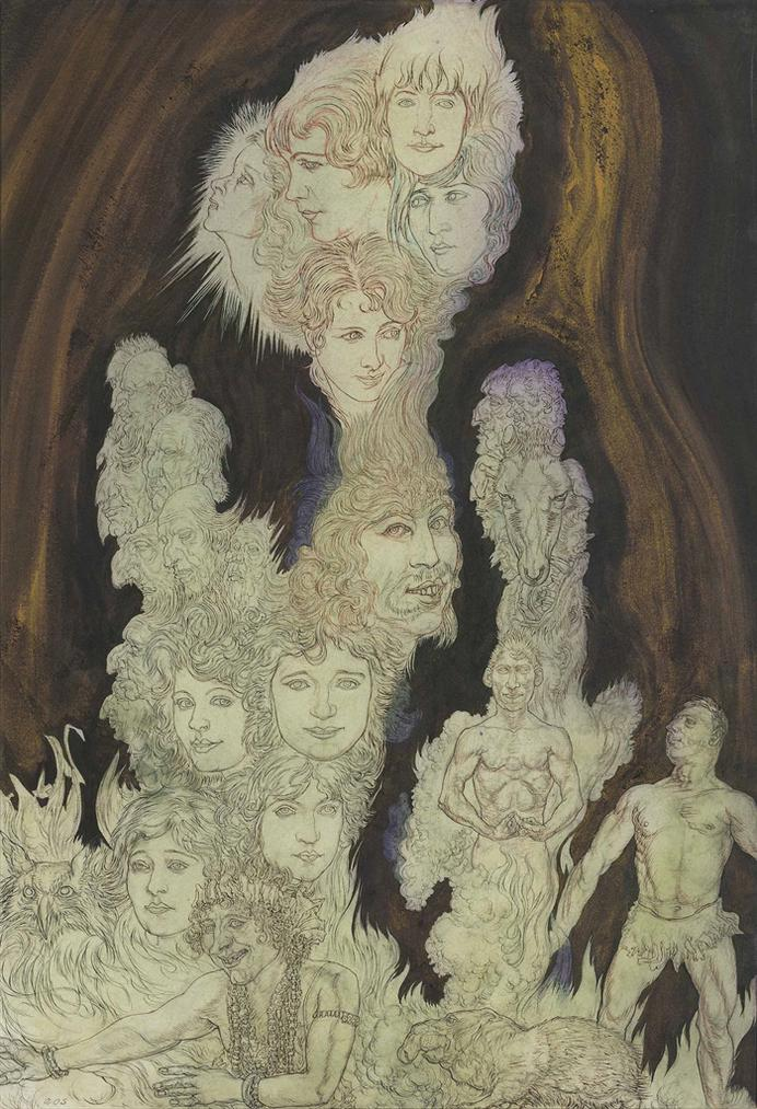 Austin Osman Spare-An Ascending Plume Of Faces, Figures And Atavistic Forms-1929