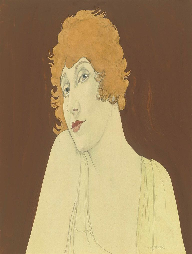 Austin Osman Spare-Portrait Of A Woman With Red Hair, Coquette-1930