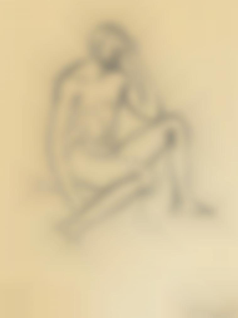 Keith Vaughan-Seated Male Nude; Figure In Profile-1953