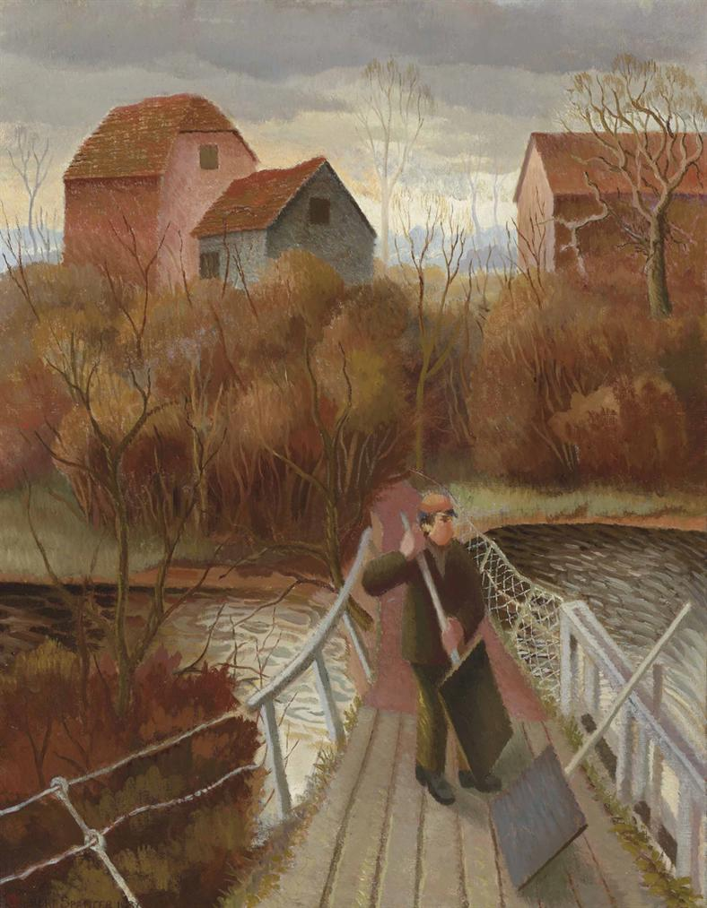 Gilbert Spencer-Man At A Sluice Gate On The Thames-1932