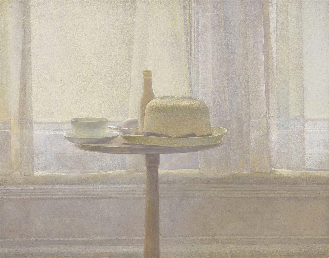 David Tindle - Still Life Of Objects On A Pedestal Table-1988