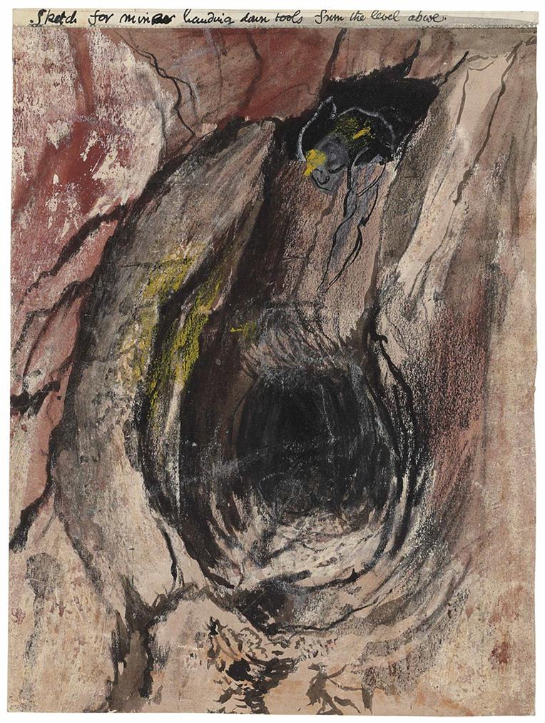 Graham Sutherland-Sketch For Miner Handing Down Tools From The Level Above-1942
