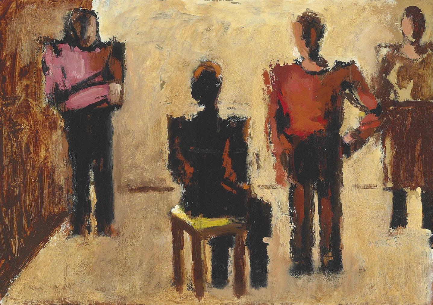Josef Herman-A Group Of People-1974