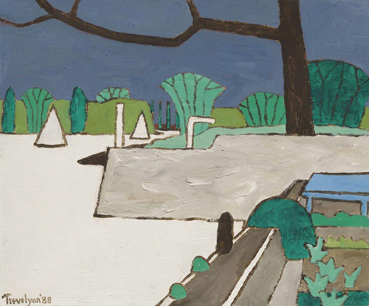 Julian Trevelyan-Trees By River, Durham Wharf-1988