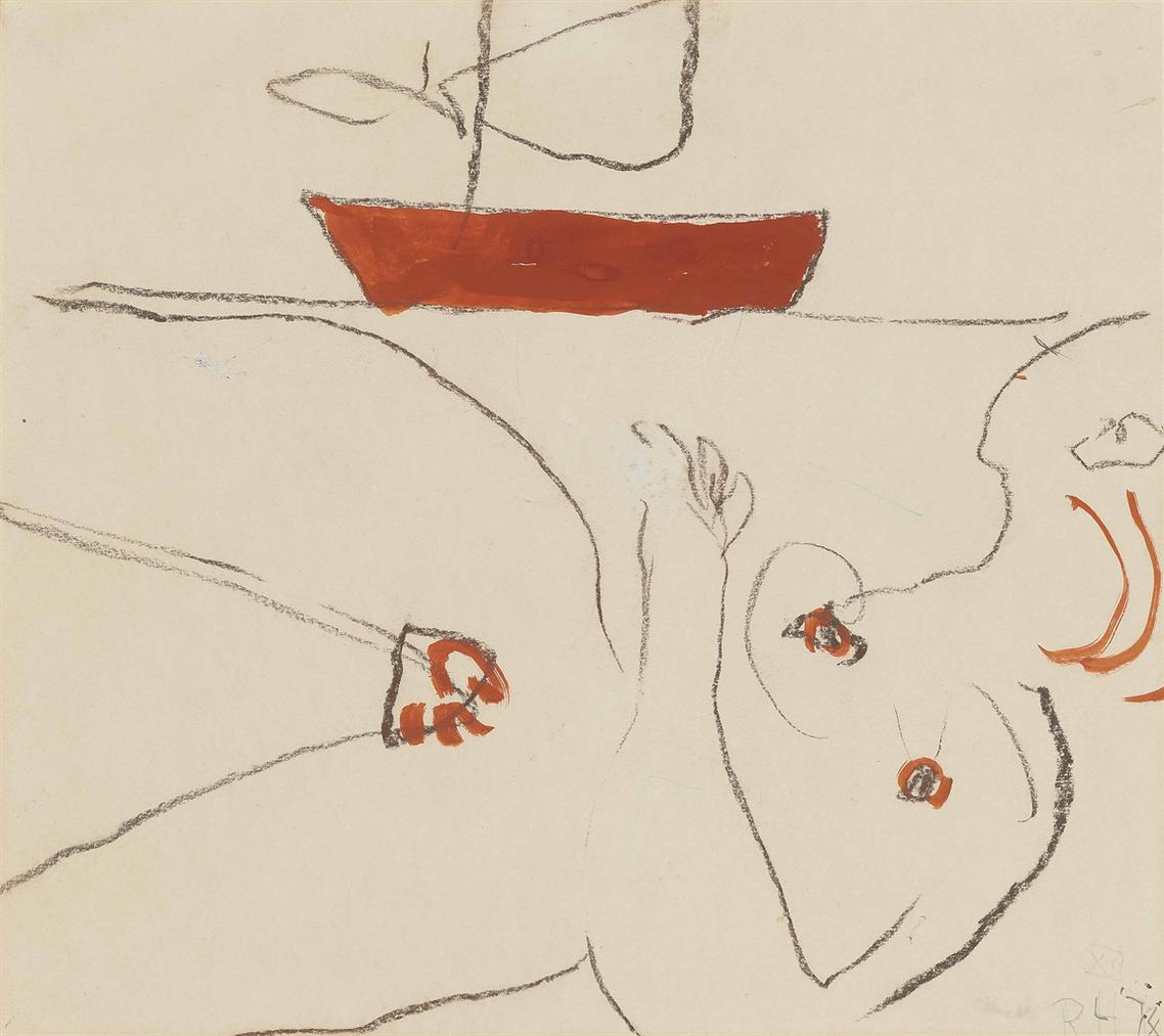 Roger Hilton-Reclining Nude With Boat Beyond-1974