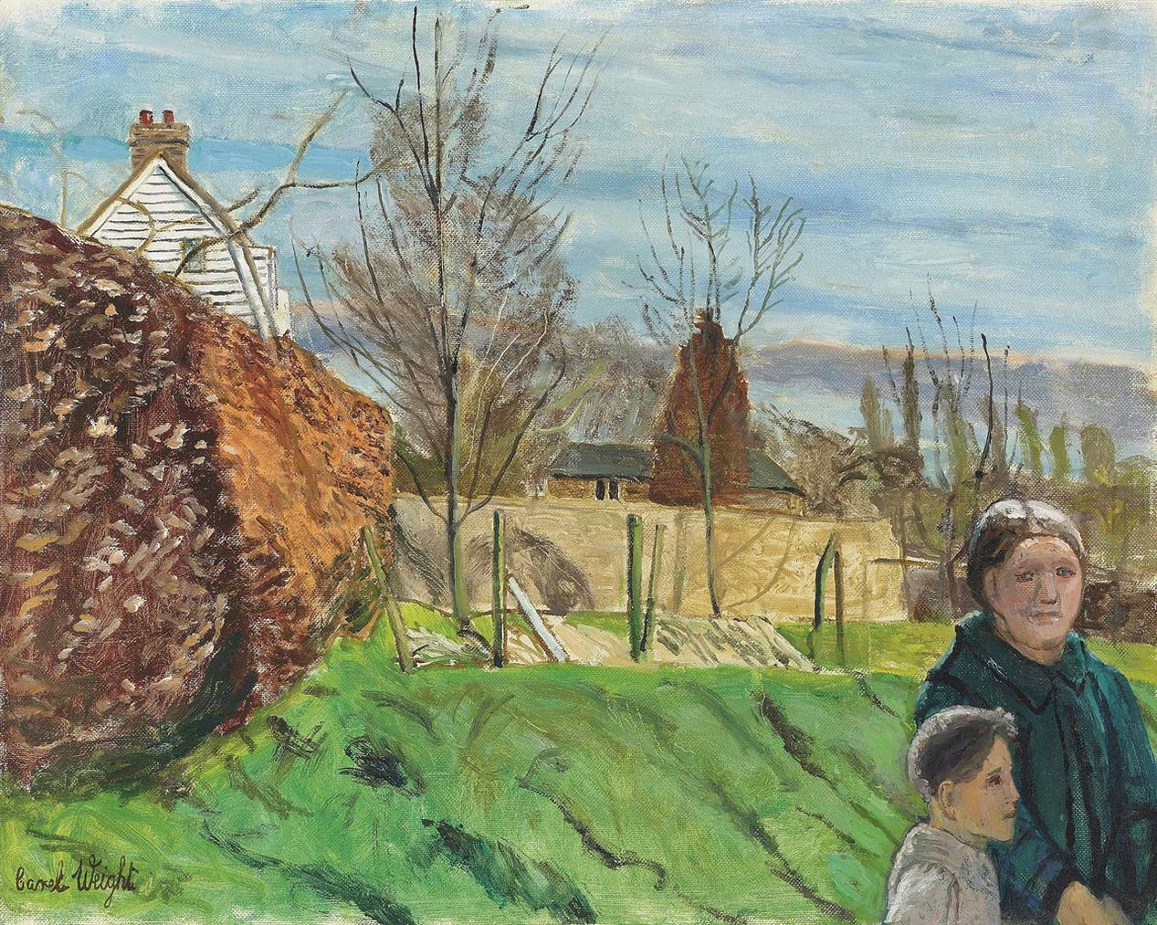 Carel Weight-Kent Landscape With Mother And Son-