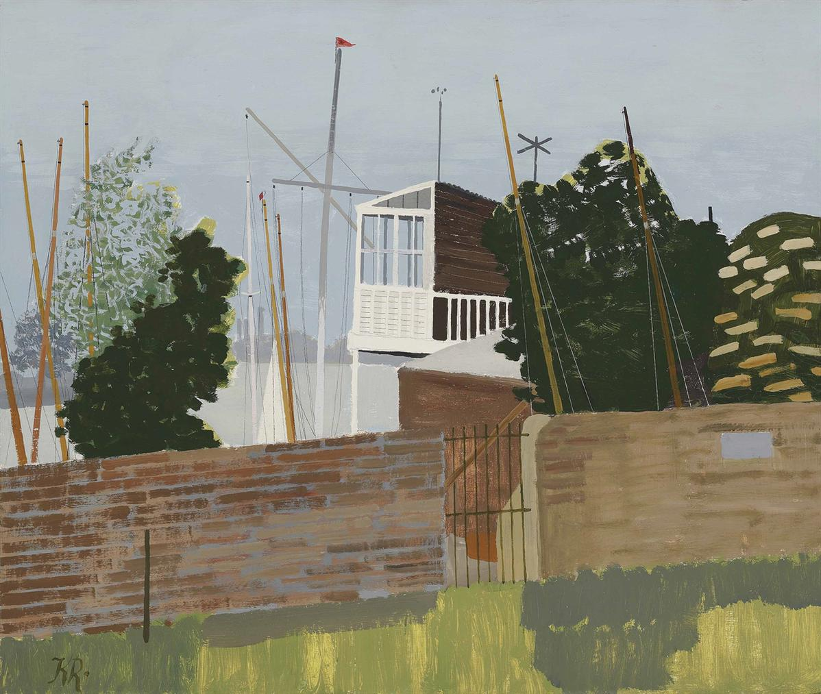 Kenneth Rowntree - Putney Gardens With Boats-