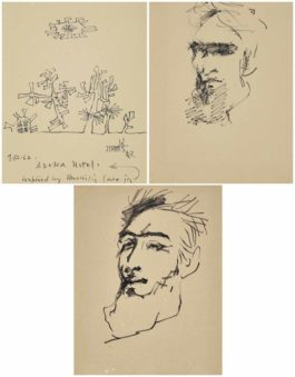 Vasudeo S. Gaitonde-Untitled (Portraits Of Husain)-1962