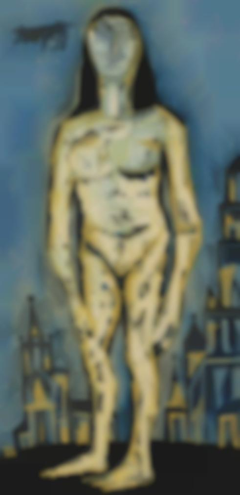 Francis Newton Souza-Standing Nude In City Background-1959