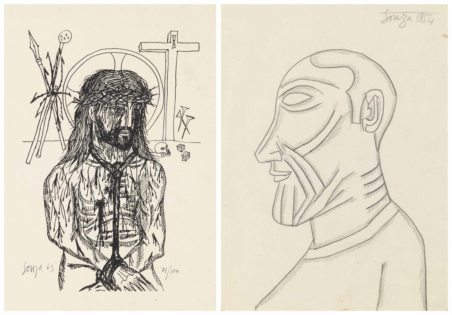 Francis Newton Souza-Untitled (Christ; Profile Of A Man)-1963