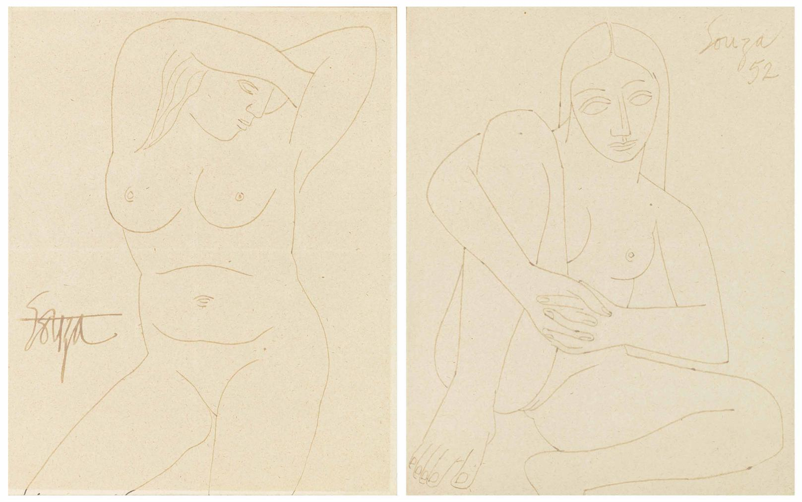Francis Newton Souza-Untitled (Seated Nude)-1952