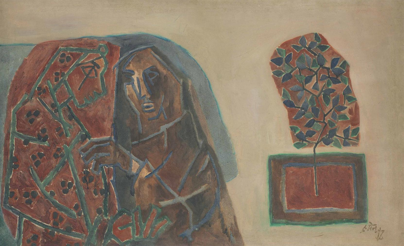 Maqbool Fida Husain-Untitled (Two Women)-1960