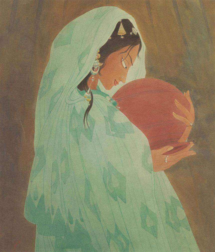 Abdur Rahman Chughtai - Untitled (Woman Holding A Water Jar)-