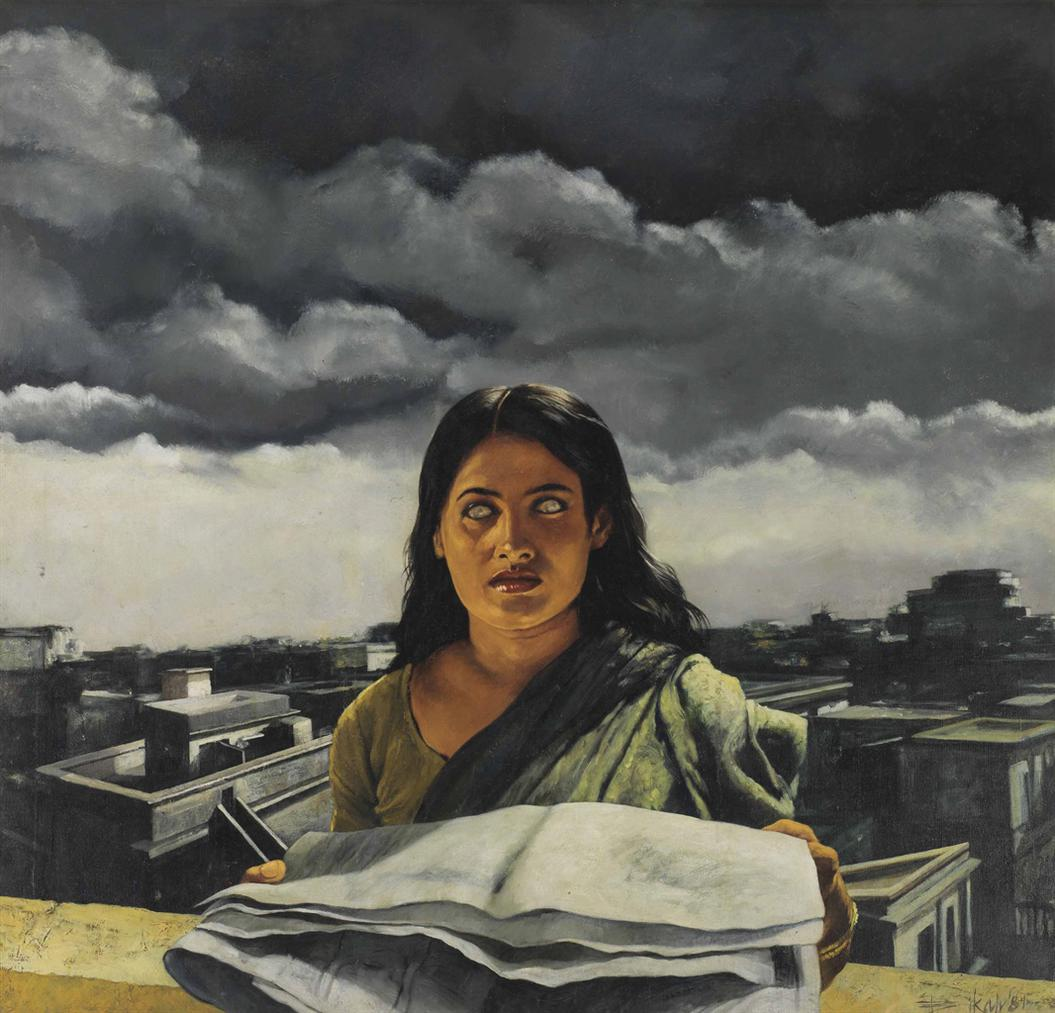 Bikash Bhattacharjee - Untitled (She With A Newspaper)-1981