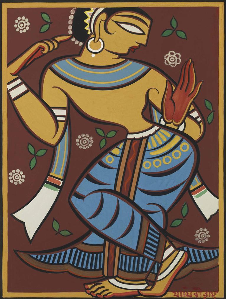 Jamini Roy - Untitled (Dancing Gopi)-