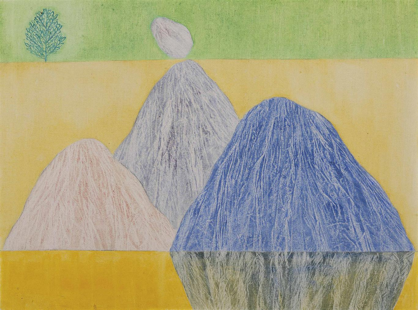 Jagdish Swaminathan - Untitled (Bird, Tree And Mountain Series)-