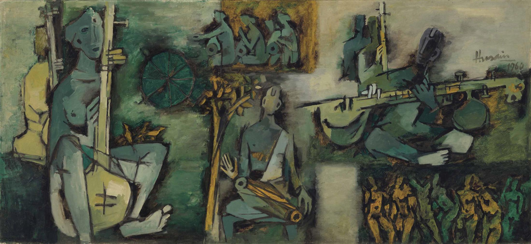 Maqbool Fida Husain-Green Song (Ragamala Series)-1960