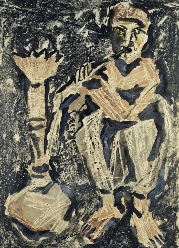 Maqbool Fida Husain-Untitled (Man Smoking Huqqa)-1950