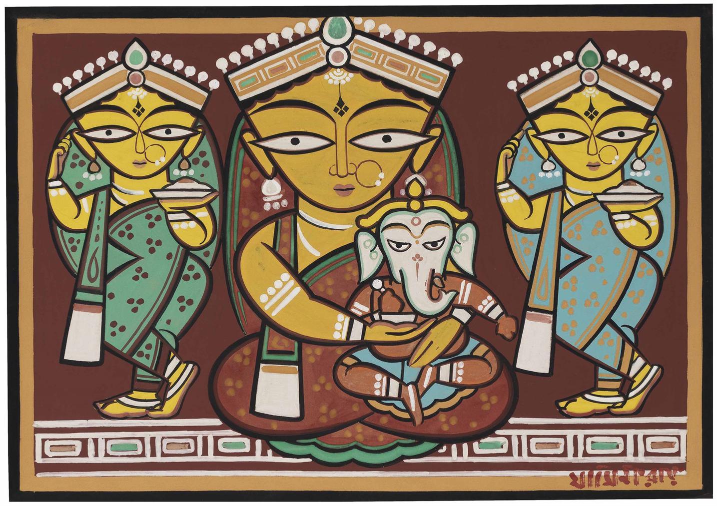 Jamini Roy - Untitled (Parvati And Ganesh)-