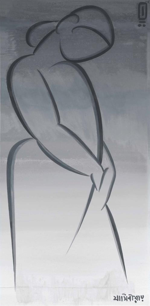 Jamini Roy - Untitled (Female Figure)-1950