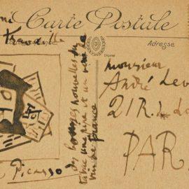 Pablo Picasso-Nature Morte A La Pipe Et Au Verre (Carte Postale Adressee A Andre Level)-1918