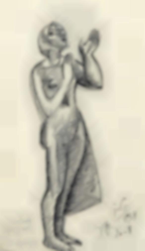 Julio Gonzalez-Suppliante (Recto); Etude Pour Une Sculpture (Verso)-1938