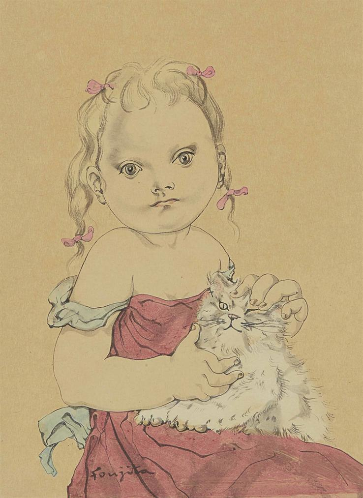Tsuguharu Foujita-Fillette Au Chat-1952
