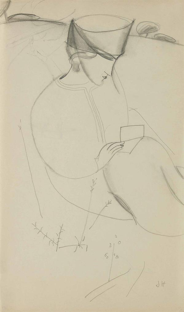Jeanne Hebuterne-Femme Au Chapeau Dans Un Paysage (Recto); Etude De Femme Au Chapeau (Verso)-