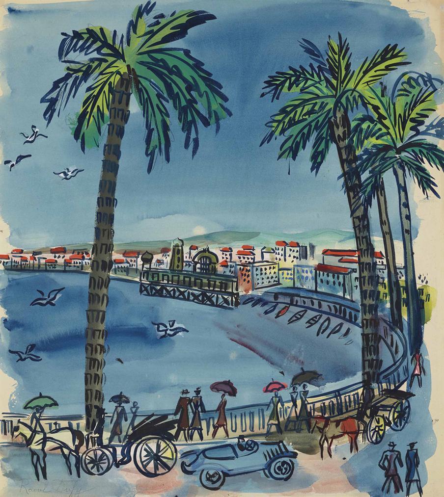 Raoul Dufy-Nice, Le Tournant De La Promenade Des Anglais Aux Mouettes-1928