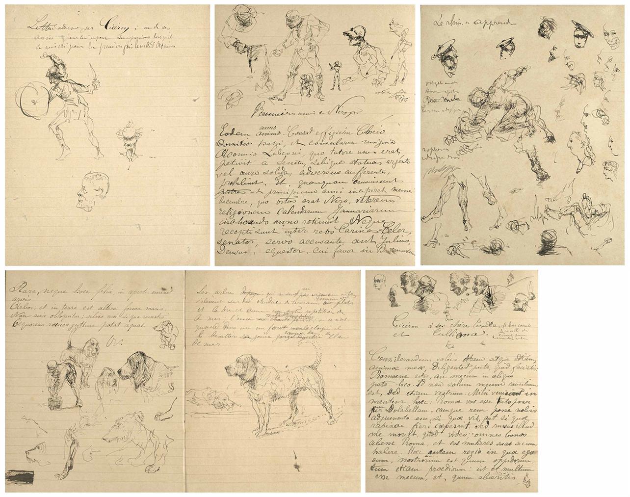 Henri de Toulouse-Lautrec-Cahier De Classe Illustre-1880
