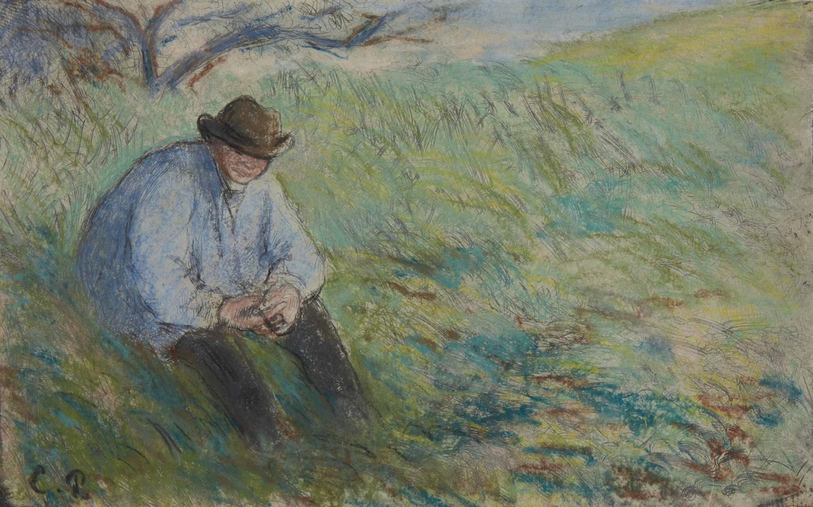 Camille Pissarro-Le Pere Melon Assis-1879