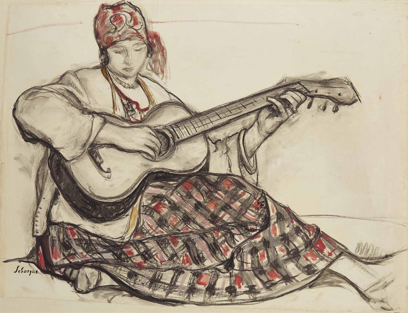 Henri Lebasque-Jeune Fille A La Guitare-1920