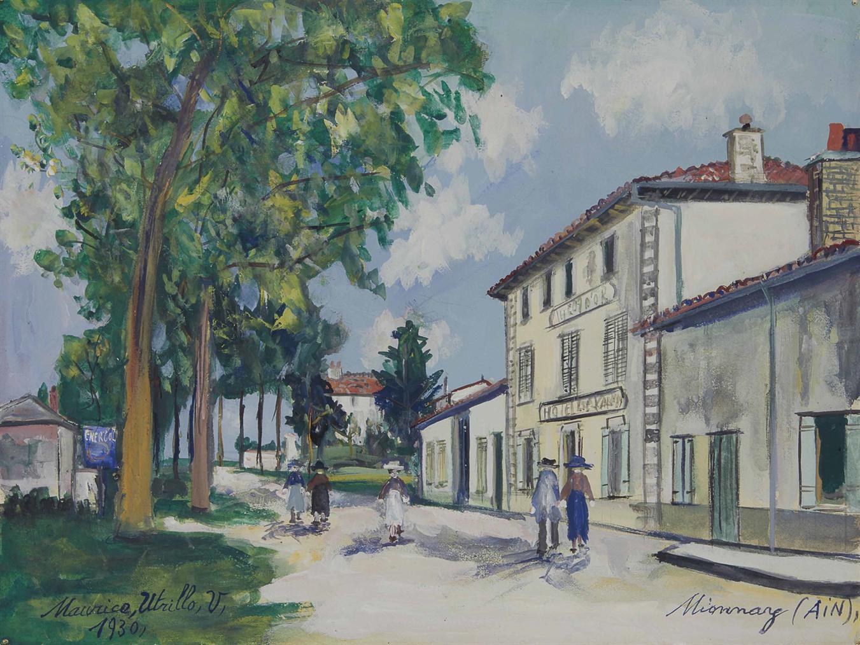 Maurice Utrillo-Hotel Du Lion Dor, Vue Du Centre, Mionnay (Ain)-1930