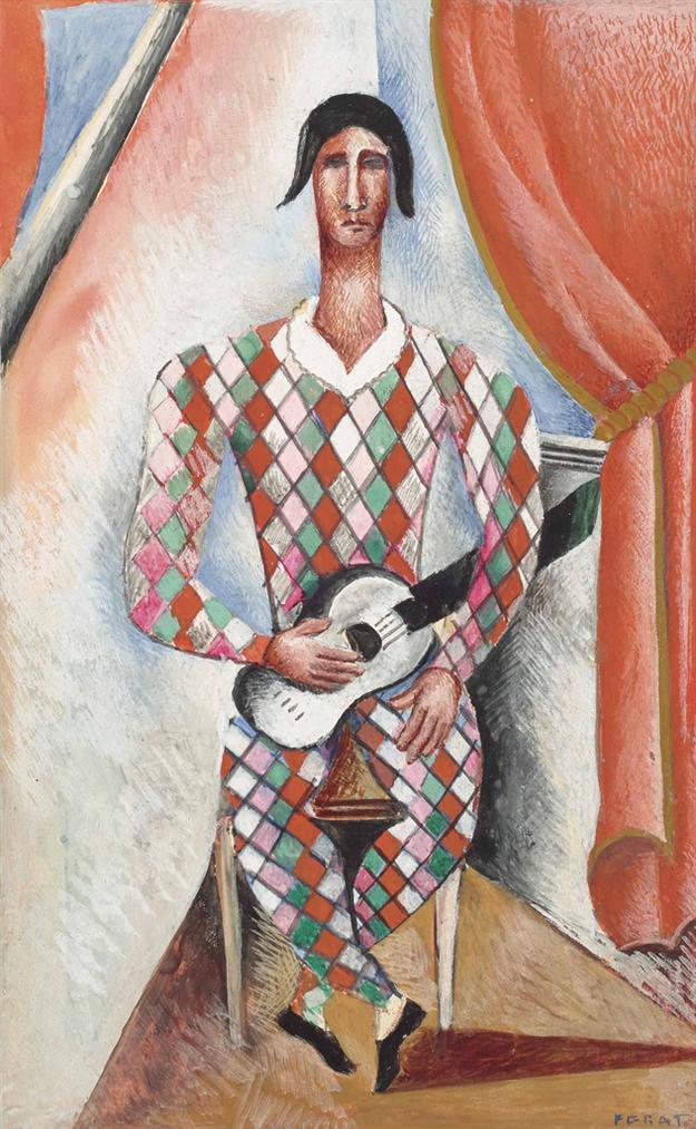 Serge Ferat-Arlequin A La Guitare-1930